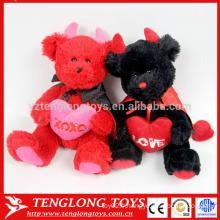Ours de mariage en couple rouge et noir peluche doux peluche ours jouet