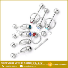 Acero inoxidable CZ Gem Knocker Style Barbell Tongue Ring Piercing
