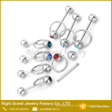 Stainless Steel CZ Gem Knocker Style Barbell Tongue Ring Piercing
