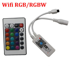MINI LED RGB / RGBW WIFI Controler DC5-28V + IR 24 Key Remote Controller