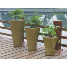 Aluminium Rustproof Frame Flower Rattan Outdoor Usé Patio Plant Pot