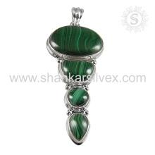 Jóias de pedras preciosas semi preciosas Pingente de malachite verde Jóias de prata de prata 925 Jóias de prata