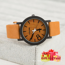 Fashion Khaki Canvas Strap Watch Wooden Style Wristwatch Cestbella Special Gifts Watch