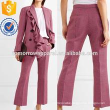 Cropped Houndstooth Wool Flared Pants Manufacture Wholesale Fashion Women Apparel (TA3021P)