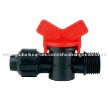 Hose connector with on/off valve, used for drip watering irrigation