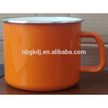 coffee and milk enamel mug with handle