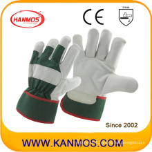 Green Industrial Cowhide Grain Leather Safety Work Gloves (12004)