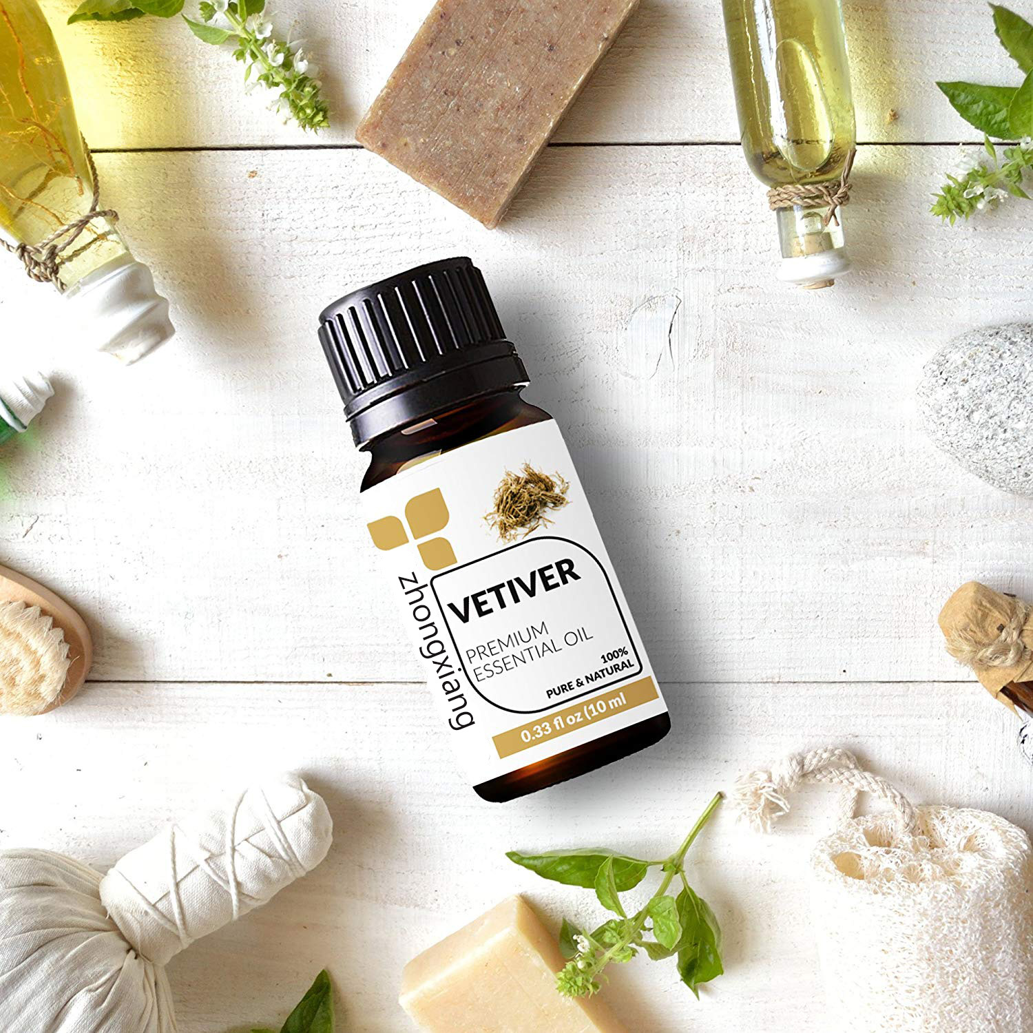Private Label Box Vetiver Essential Oil Aromatherapy Vetiver Essential Oil Pure Natural Wholesale Custom OEM Vetiver Essential Oil