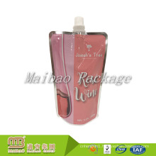 FDA Approved Custom Reusable Stand Up Plastic Aluminum Foil Liquor Packaging Wine Spout Pouch