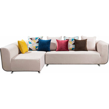 Beige Fabric Upholstered L-Shaped Corner Sectional Sofa