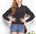 Women's long sleeve anchor printed chiffon shirt