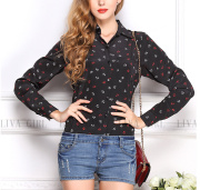 Women's long sleeve anchor printed chiffon shirt