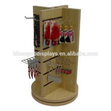 Fashion Accessories Retail Store Advertising Unit Countertop Wood Revolving Slatwall Display Tower