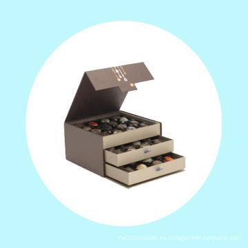 Lujo dos capas ordenadas artesanales chocolate caja de papel de regalo