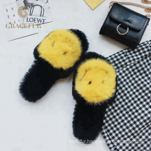 Exquisite designer fur slippers with mink fur