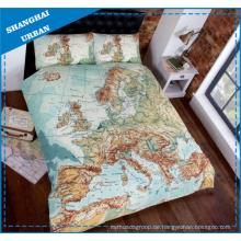 Europa Karte Design gedruckt Polyester Bettbezug Bettwäsche Set