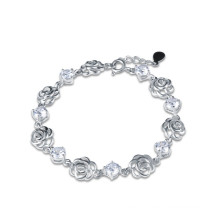 Sterling silver rose flower Amethyst and diamond bracelet