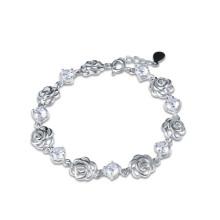 Prata esterlina rosa flor ametista e bracelete de diamante