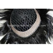 Fish net cheveux humains toupet morceau de cheveux pour les hommes