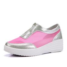 Calçados femininos com alta palmilha calçados casuais com zíper
