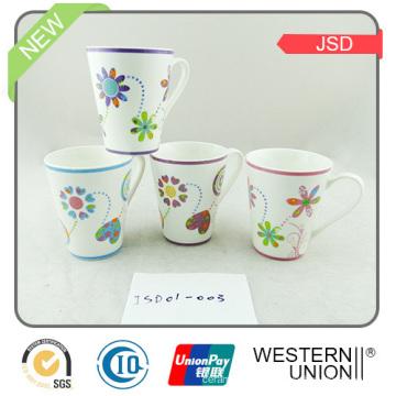 Copo de café cerâmico da forma Ec-Amigável de V para o presente relativo à promoção