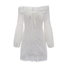 women sexy puff sleeve shoulder off casual white lace embroidery mini dress manufacturer make it directly