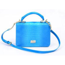 Bright Blue Small Leather Shoulder Bag with Removable Chain