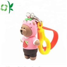 New Style Cartoon Bear Bag Hållare Silicone Keychains
