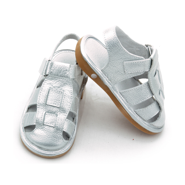 Kids Girls Genuine Leather Squeaky Shoes Children Sandals