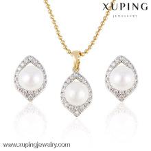 63958 Xuping Imitation Pearl Anhänger Herzform Frauen Kristall Schmuck Set