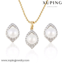 63958 Xuping Imitation Pearl Pendant Heart Shape Women Crystal Jewelry Set