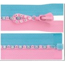 Custom Rhinestone Zipper Auto Lock Open or Closed End (#3)