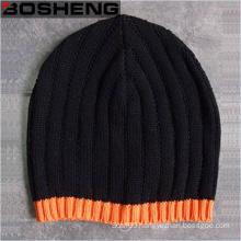 Orange Edge Black Hat, Crochet Knit Winter Hat