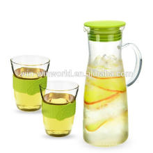 Family Drinkware Handblown Clear Glass Water Jug Set With Measurement
