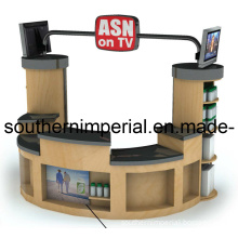Mall Custom Wooden Retail Shop Garment Display Showcase Kiosk