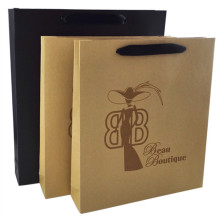 Luxury kraft gift shopping bag with black ribbon