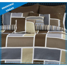 Brown Colorblock Printed Polyester Patchwork Quilt