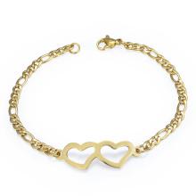 Frauen-Kettenglied-Armband-Edelstahl-Doppeltes Herz-Charme-Armband