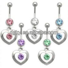 Personalizada diamante coração umbigo barriga anéis jóias
