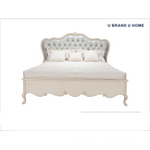 Classic Romantic King Size Bed for Bedroom with Beech Wood