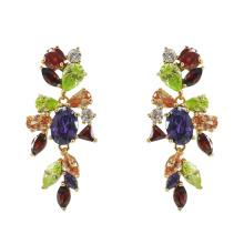 925 Sterling Silver Multicolor CZ Earrings