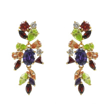 925 Sterling Silver Multicolor CZ Earrings