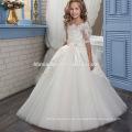 Nueva moda blanco y marfil vestido de novia de las muchachas de encaje floral manga medio vintage vestido de niña de las flores de 9 años de edad