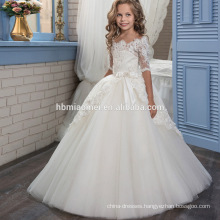 New fashion white and ivory girls wedding dress floral lace middle sleeve vintage flower girl dress of 9 years old