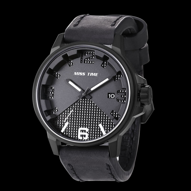 2016 luxury leather mens dress quartz watch