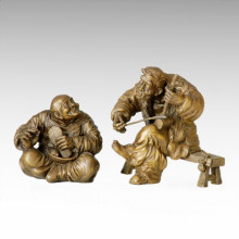 Estatua Oriental Tradicional Pareja Antigua Escultura De Bronce Tple-005