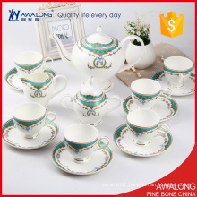 custom 15pcs european tea set porcelain material type with flower decal