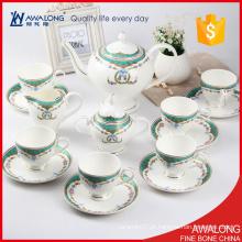 Tipo de material europeu da porcelana do jogo do chá do costume 15pcs com decalque da flor