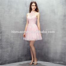 Cute mini design rosa cor atado halter vestidos de casamento vestidos de dama de honra