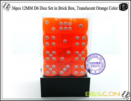 36pcs 12MM D6 Dice Set in Brick Box, Translucent Orange Color-2
